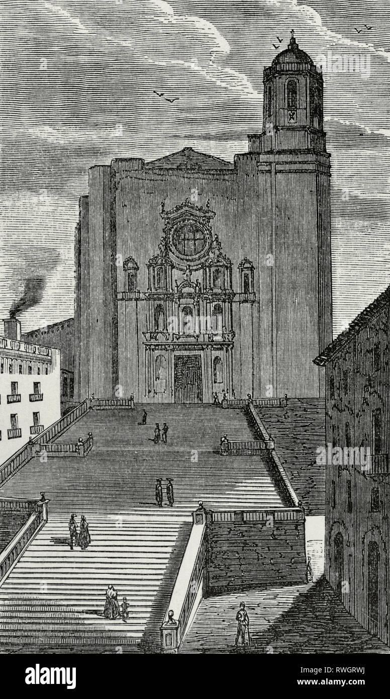 Spain. Catalonia. Cathedral of Saint Mary of Girona. Main facade of the 17th century, Baroque classicist style. Drawing by Miranda. Engraving. Crónica General de España, Historia Ilustrada y Descriptiva de sus Provincias. Catalonia. 1866. - Stock Image
