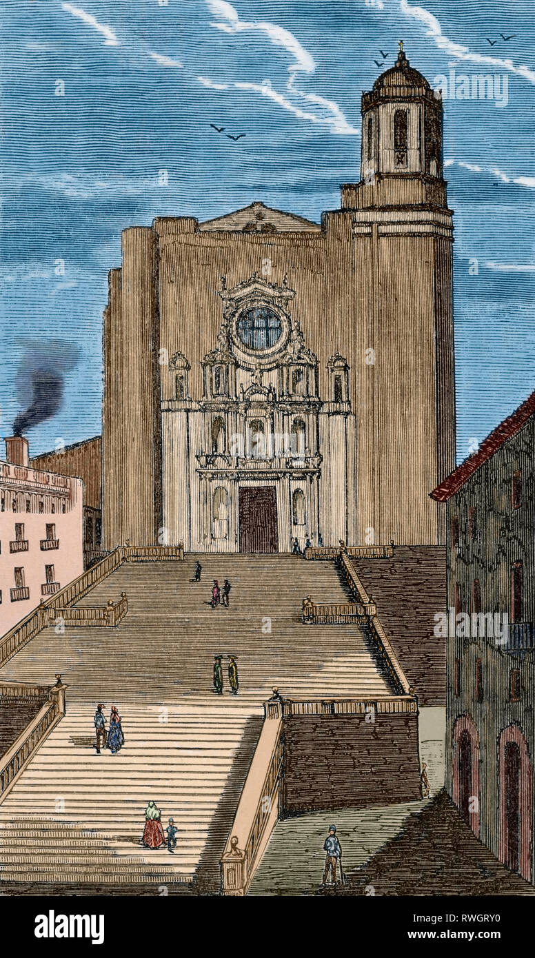Spain. Catalonia. Cathedral of Saint Mary of Girona. Main facade of the 17th century, Baroque classicist style. Drawing by Miranda. Engraving. Later colouration. Crónica General de España, Historia Ilustrada y Descriptiva de sus Provincias. Catalonia. 1866. - Stock Image