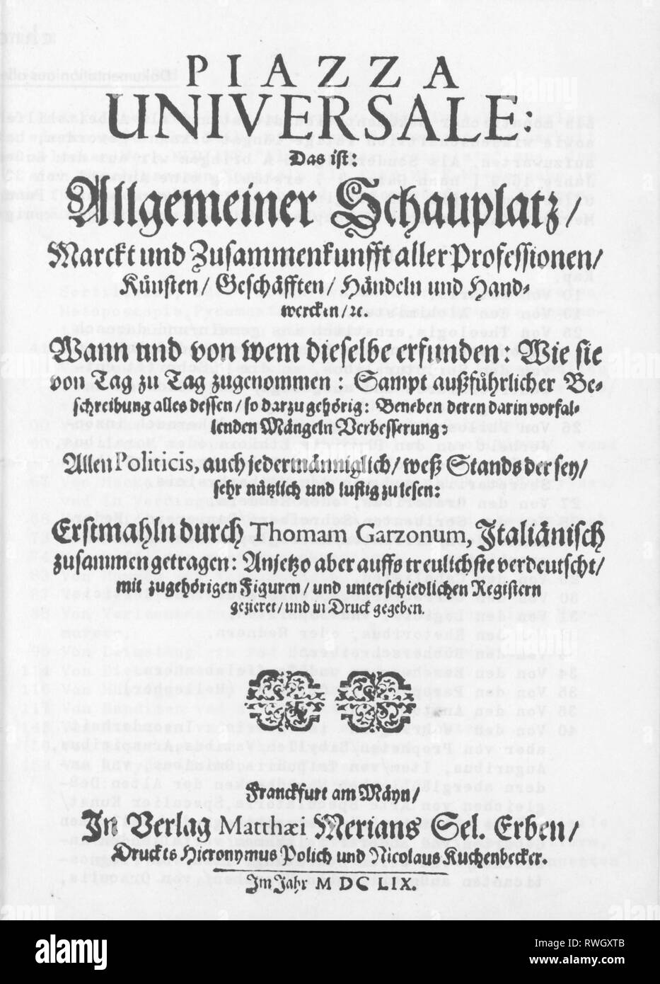 Garzoni, Tommaso, 1549 - 1589, Italian author / writer, works, 'Piazza Universale', 1585, front page, German edition, Frankfurt, 1659, Additional-Rights-Clearance-Info-Not-Available - Stock Image
