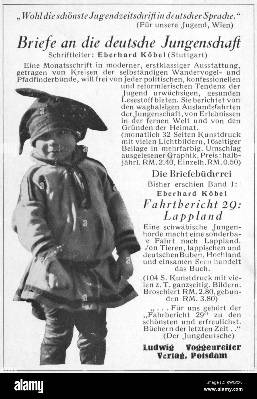 Koebel, Eberhard, 22.6.1907 - 31.8.1955, German author / writer, advertising for his magazine 'Briefe an die deutsche Jungenschaft' (Letters to the Deutsche Jungenschaft), 1928 - 1933, Additional-Rights-Clearance-Info-Not-Available - Stock Image
