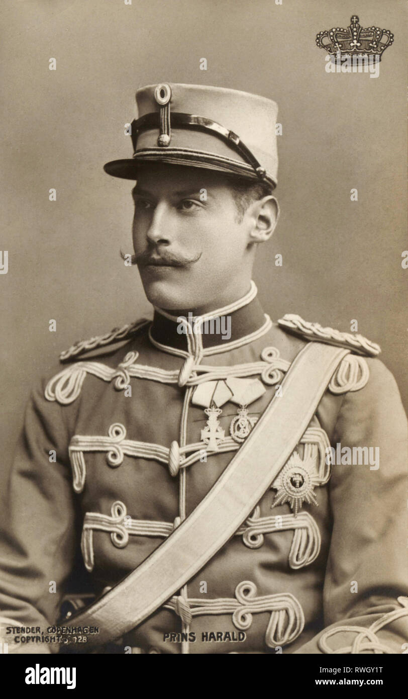 Harald, 8.10.1876 - 30.3.1949, prince of Denmark, half-length, picture postcard, circa 1908, Additional-Rights-Clearance-Info-Not-Available - Stock Image