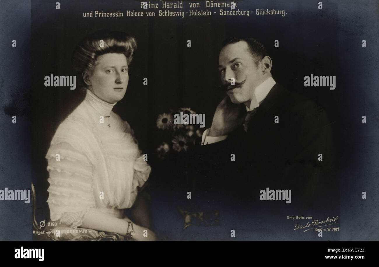 Harald, 8.10.1876 - 30.3.1949, prince of Denmark, half-length, with wife Helena, picture postcard, 1909, Additional-Rights-Clearance-Info-Not-Available - Stock Image