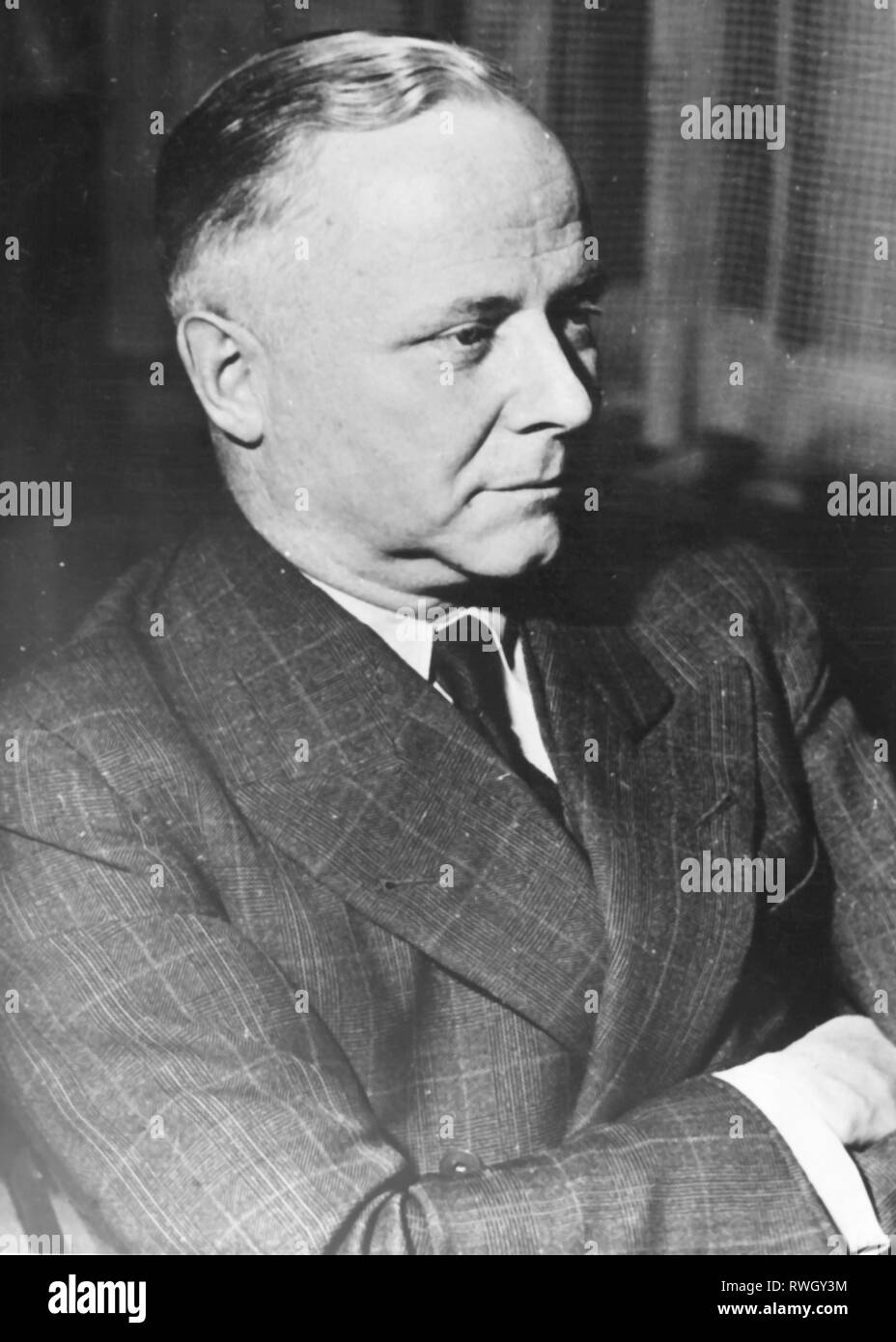 Sieveking, Kurt, 21.2.1897 - 16.3.1986, German lawyer and politician (Christian Democratic Union), German ambassador in Sweden 1951 - 1953, half-length, 31.10.1953, Additional-Rights-Clearance-Info-Not-Available - Stock Image
