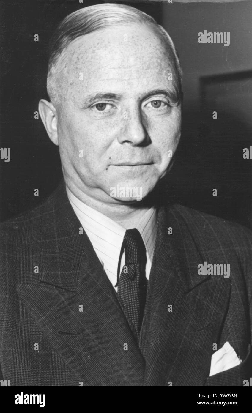 Sieveking, Kurt, 21.2.1897 - 16.3.1986, German lawyer and politician (Christian Democratic Union), German ambassador in Sweden 1951 - 1953, portrait, 2.11.1953, Additional-Rights-Clearance-Info-Not-Available - Stock Image
