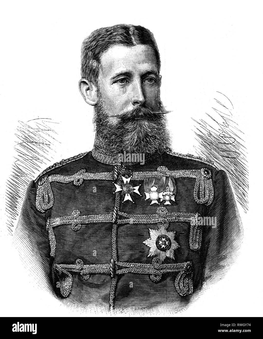 Adolf Wilhelm, 20.7.1859 - 9.7.1916, Prince of Schaumburg-Lippe, Prussian general, regent of the Principality of Lippe-Detmold 1895 - 1897, half-length, wood engraving, 1890, Additional-Rights-Clearance-Info-Not-Available - Stock Image