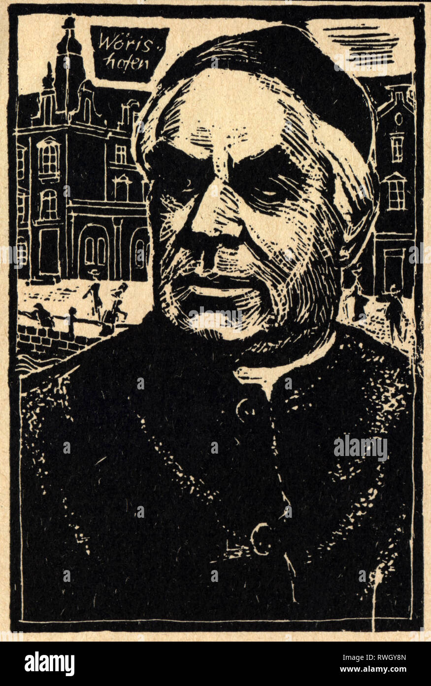 Kneipp, Sebastian, 17.5.1821 - 17.6.1897, German pastor and naturopath, portrait, woodcut, 20th century, Additional-Rights-Clearance-Info-Not-Available - Stock Image