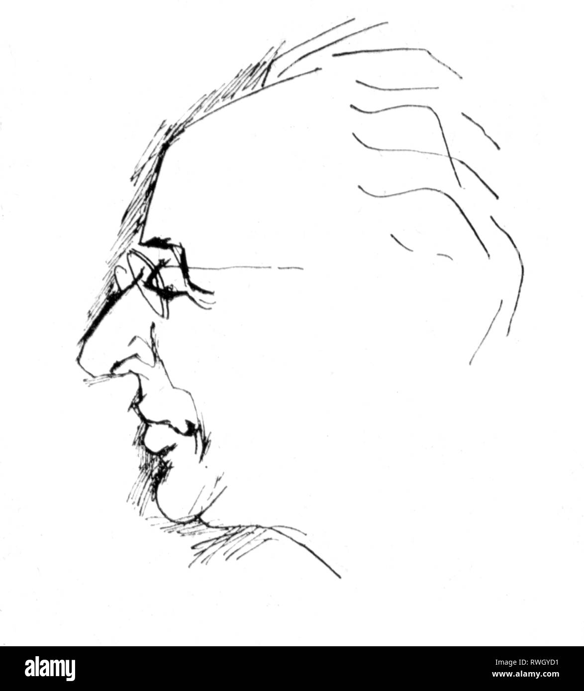 Sandberg, Herbert, 18.4.1908 - 18.3.1991, German graphic artist and cartoonist, self-portrait, 1970s, Additional-Rights-Clearance-Info-Not-Available - Stock Image