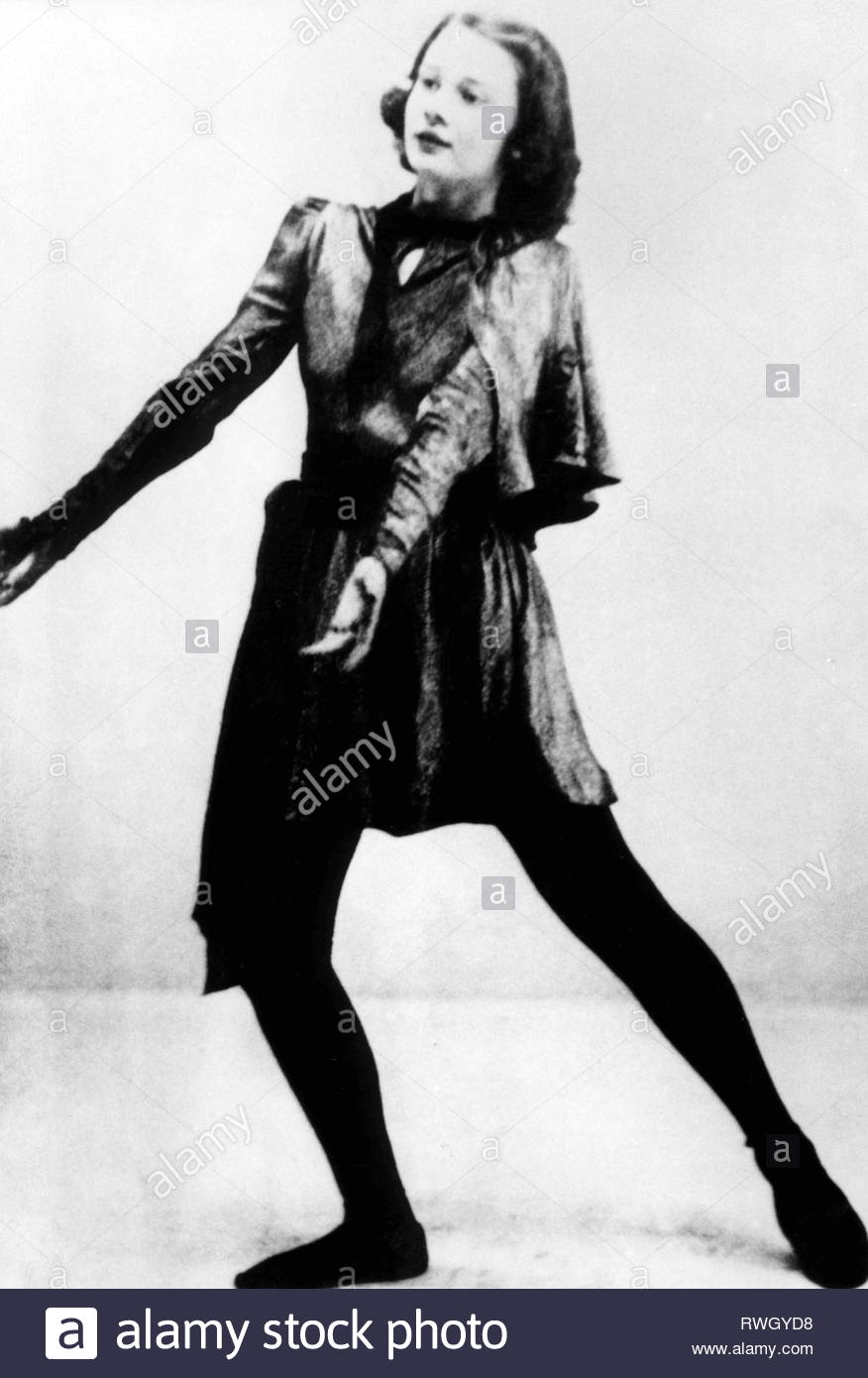 Hepburn, Audrey, 4.5.1929 - 20 1.1993, British actress, full-length, as drama student, 1940s, Additional-Rights-Clearance-Info-Not-Available - Stock Image