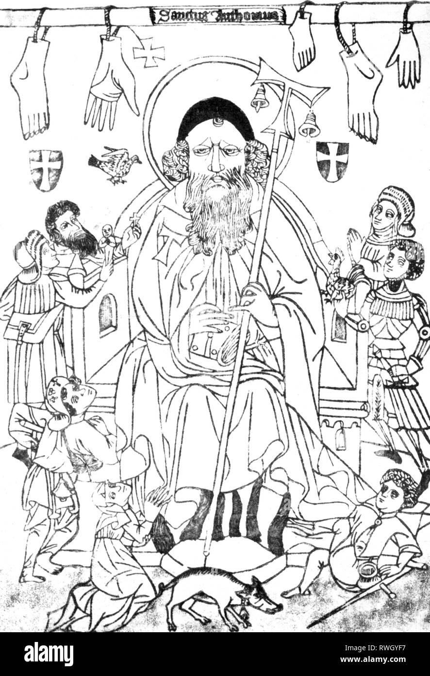 """Anthony """"the Great"""", circa 251 - circa 353, Egyptian Saint, full-length, woodcut, unknown master, 15th century, Additional-Rights-Clearance-Info-Not-Available Stock Photo"""