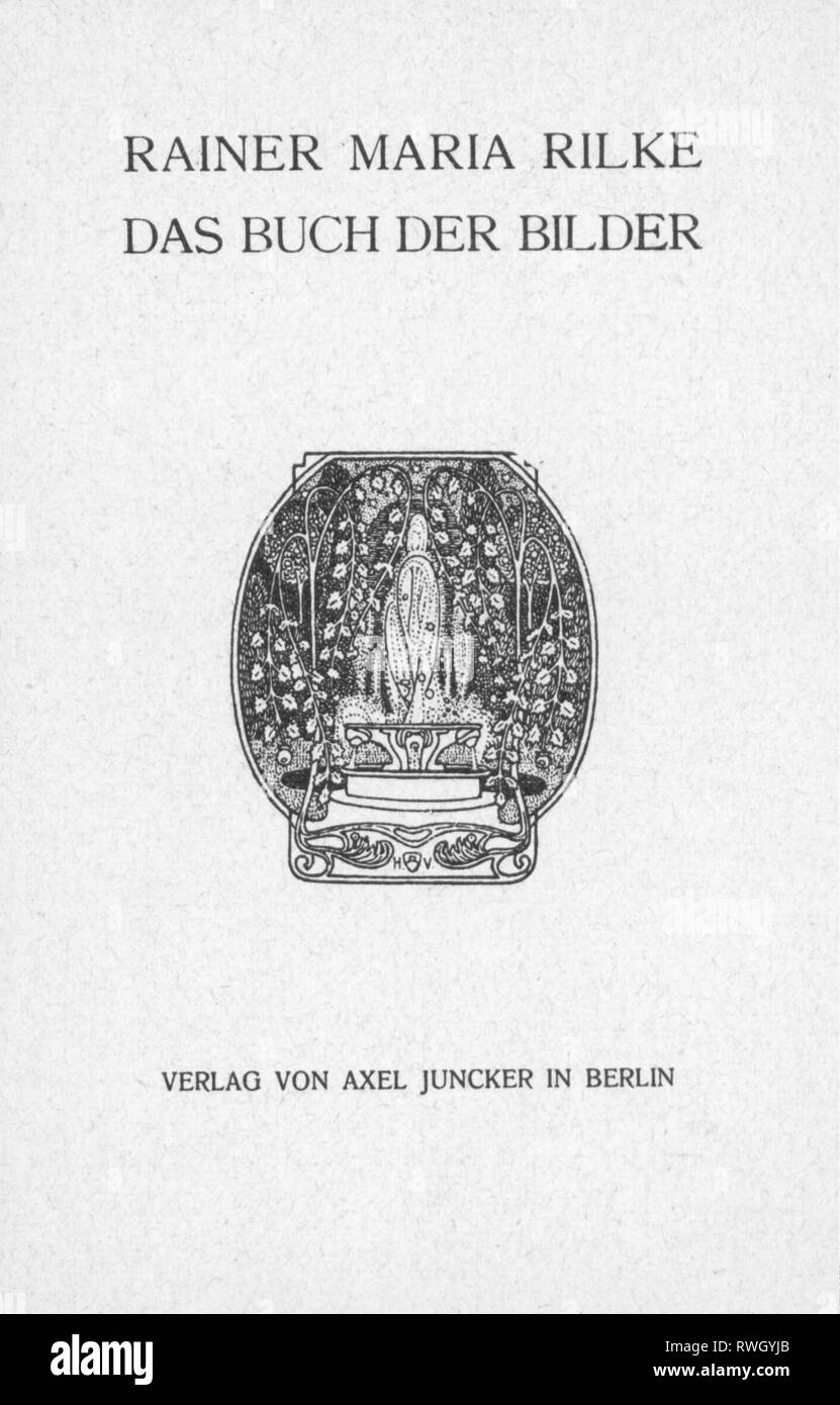 Rilke, Rainer Mary, 4.12.1875 - 29.12.1926, Austrian author / writer, works, The Book of Images (Das Buch der Bilder), title page, Axel Juncker publishing house, Berlin, 1902, Artist's Copyright has not to be cleared - Stock Image