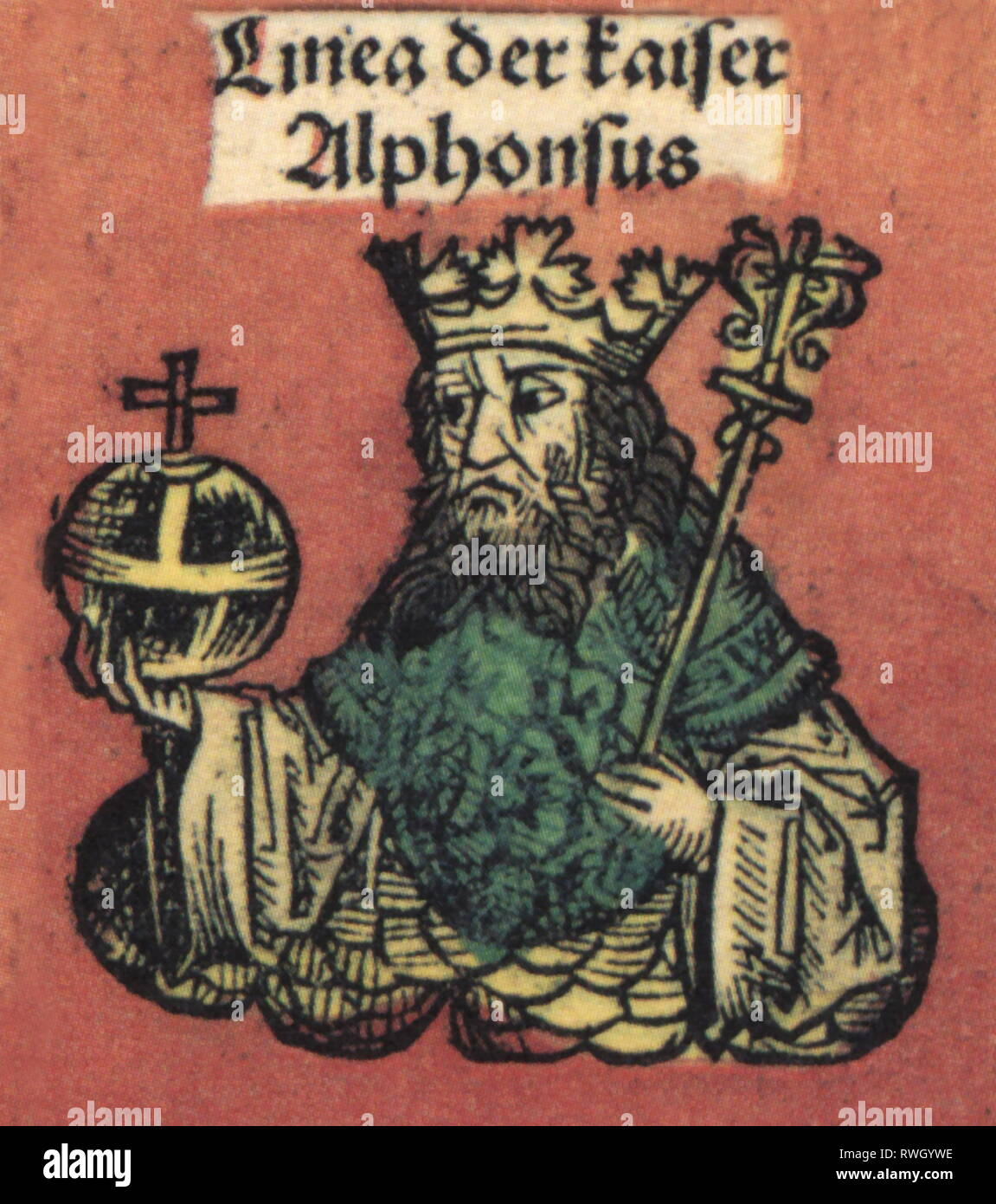Alfonso X. 'the Wise', 26.11.1221 - 4.4.1284, King of Castile and Leon 30.5.1252 - 4.4.1284, German King 1257 - 1273, half-length, woodcut by Michael Wolgemut or William Pleydenwurff to the chronicle of Hartmann Schedel, Nuremberg, 1493, Artist's Copyright has not to be cleared - Stock Image