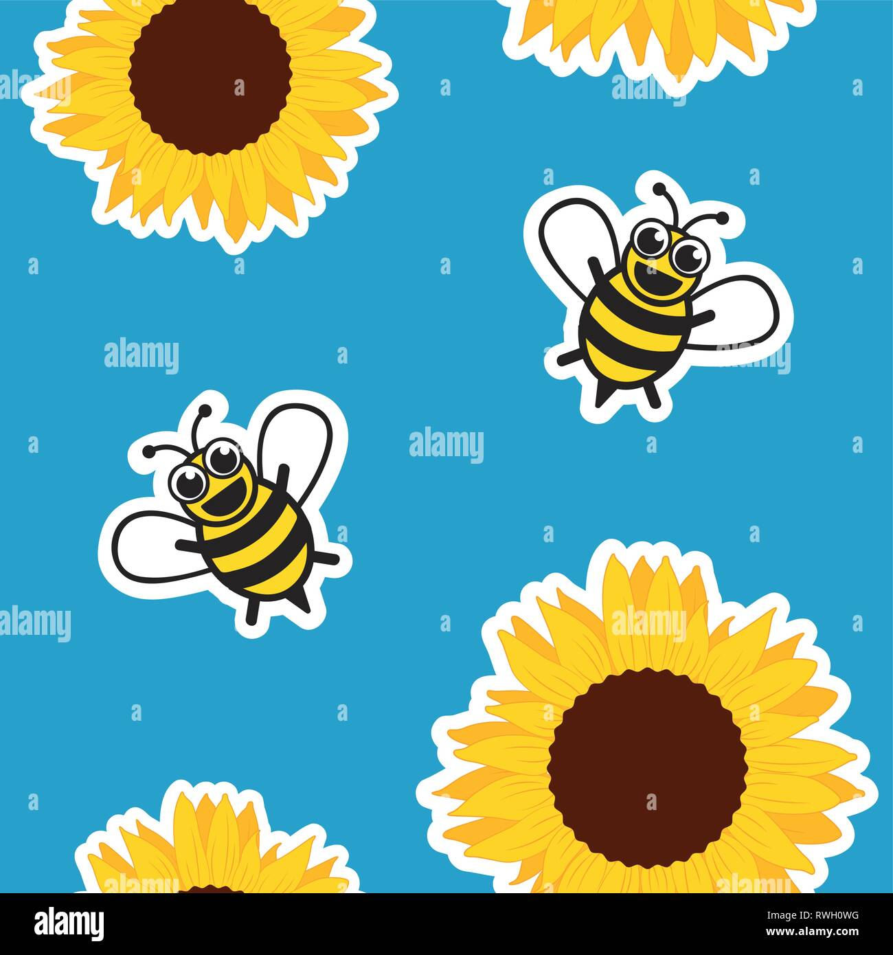 seamless pattern honey bee and sunflower on blue background vector illustration EPS10 - Stock Vector