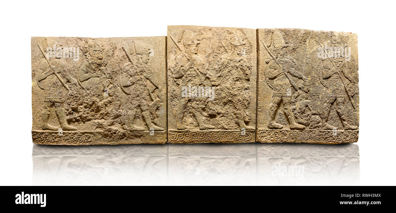 Hittite sculpted orthostats panels of Long Wall Limestone, Karkamıs, (Kargamıs), Carchemish (Karkemish), 900-700 B.C. Soldiers. Anatolian Civilisation Stock Photo