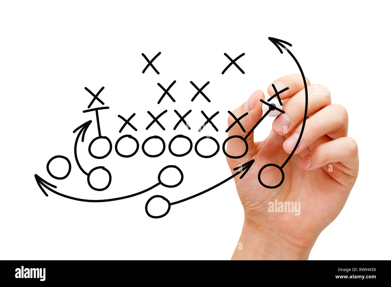 Coach drawing american football or rugby game playbook, tactics and strategy with black marker on white background. - Stock Image