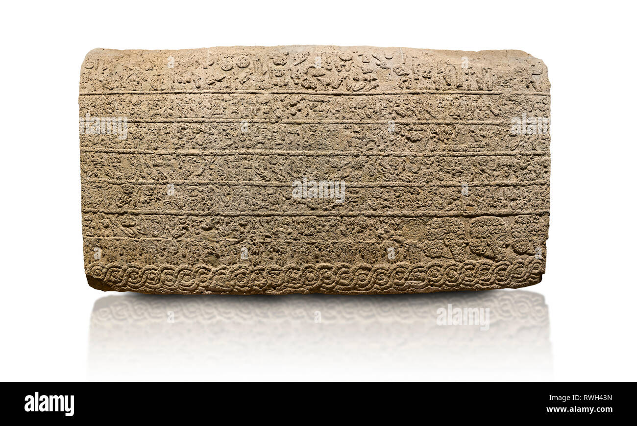 Hittite sculpted Orthostats panel from the  Long Wall.  Limestone, Kargarmis, Gaziantep, 900 - 700 BC,  Hieroglyph. Anatolian Civilisations Museum, An Stock Photo
