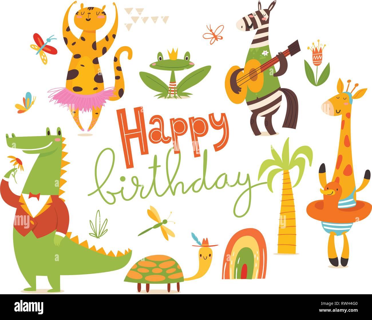 Happy Birthday Card Big Set Of Cartoon Wild Animals Stock Vector Image Art Alamy