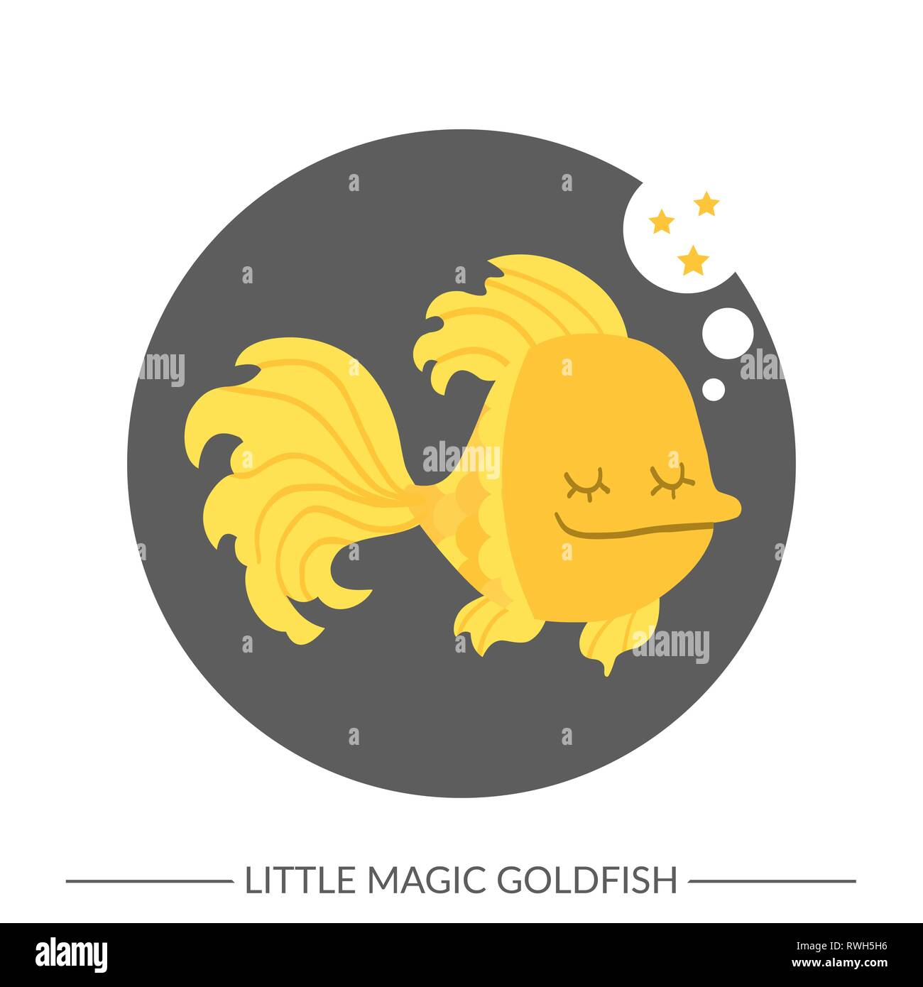 Vector. Gold fish. Flat style - Stock Vector