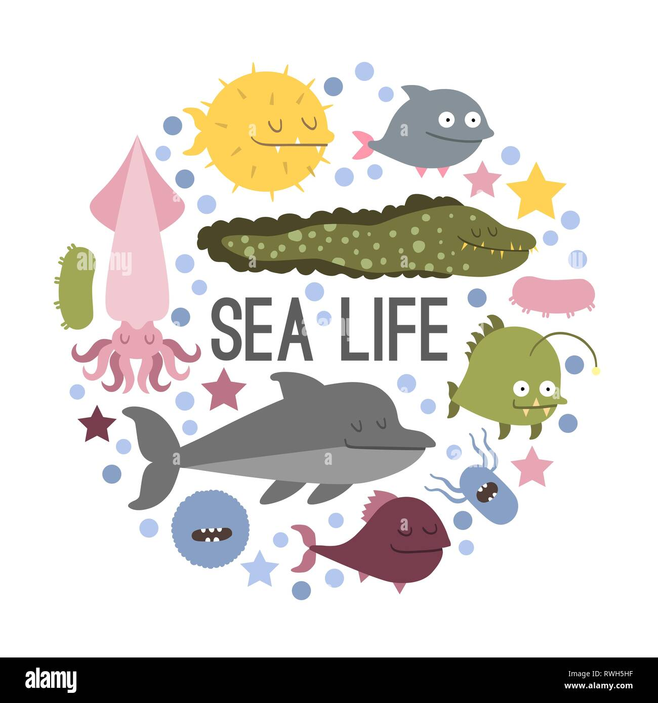 Vector. Set of sea life animals. Flat style - Stock Image