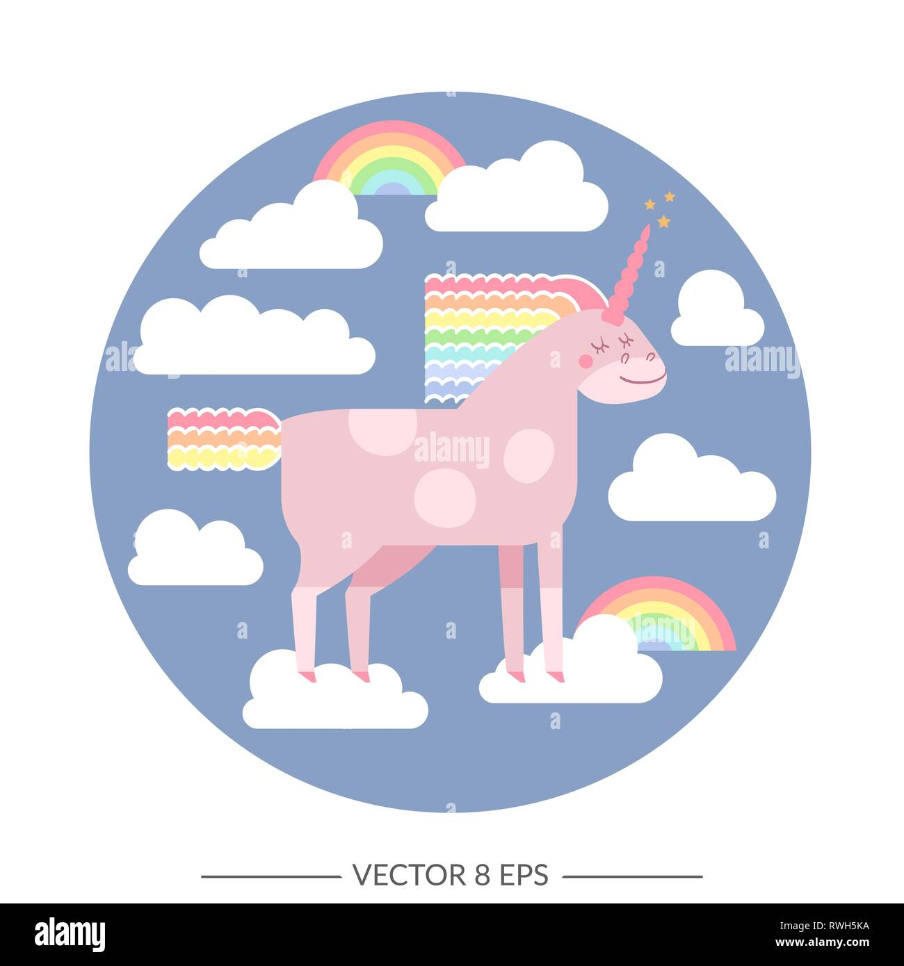 Cute Vector Unicorn In Flat Style Unicorn Horse With Rainbow Mane And Tail For Your Design Fabric Textile Wallpaper Greeting And Motivate Postcar Stock Vector Image Art Alamy