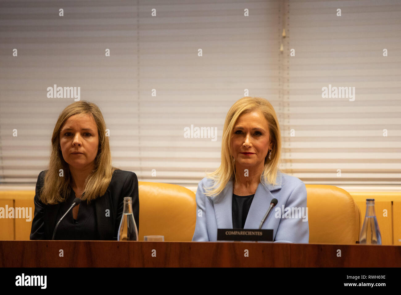 The former president of the Community of Madrid Cristina Cifuentes (R) with her lawyer(L) are seen attending the research commission of universities of the Assembly of Madrid to appear in relation to the case Master, which is investigated for alleged crime of falsification of documents. - Stock Image