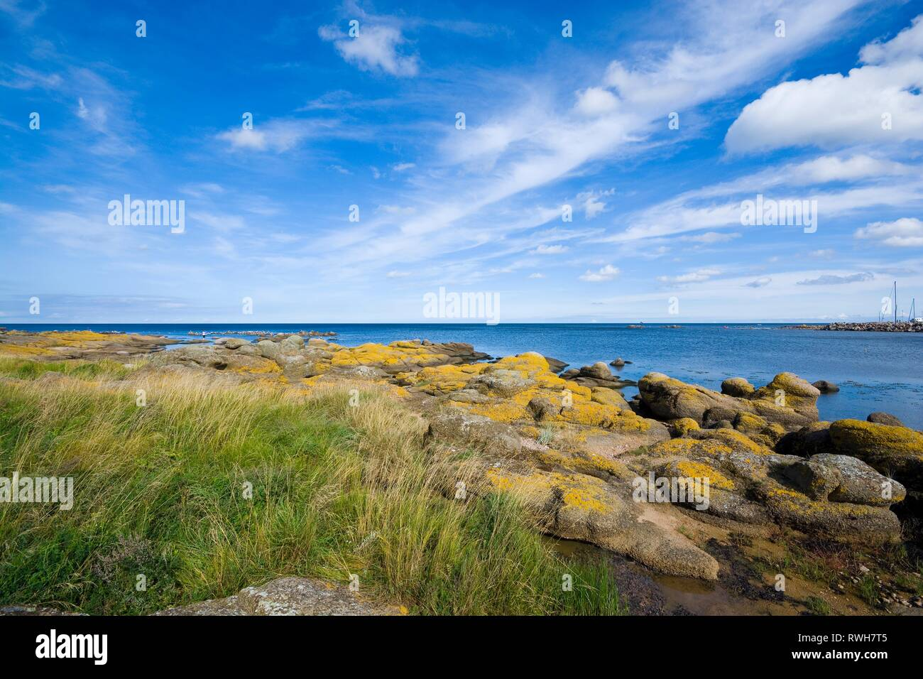 View of fishing hamlet on east coast of Bornholm island - Aarsdale, Denmark Stock Photo