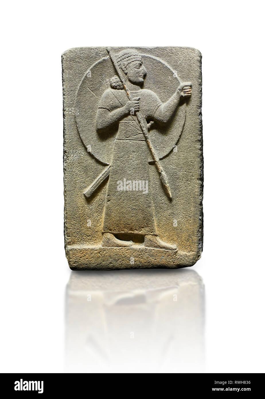 Hittite relief sculpted orthostat stone panel of Royal Buttress. Basalt, Karkamıs, (Kargamıs), Carchemish (Karkemish), 900-700 B.C.  Warrior.  Anatoli Stock Photo