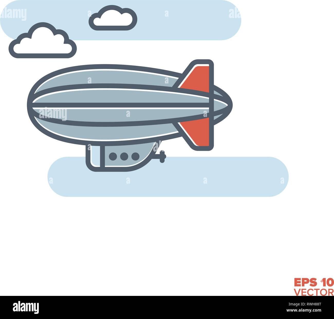 zeppelin blimp in flight filled line icon vector illustration - Stock Image