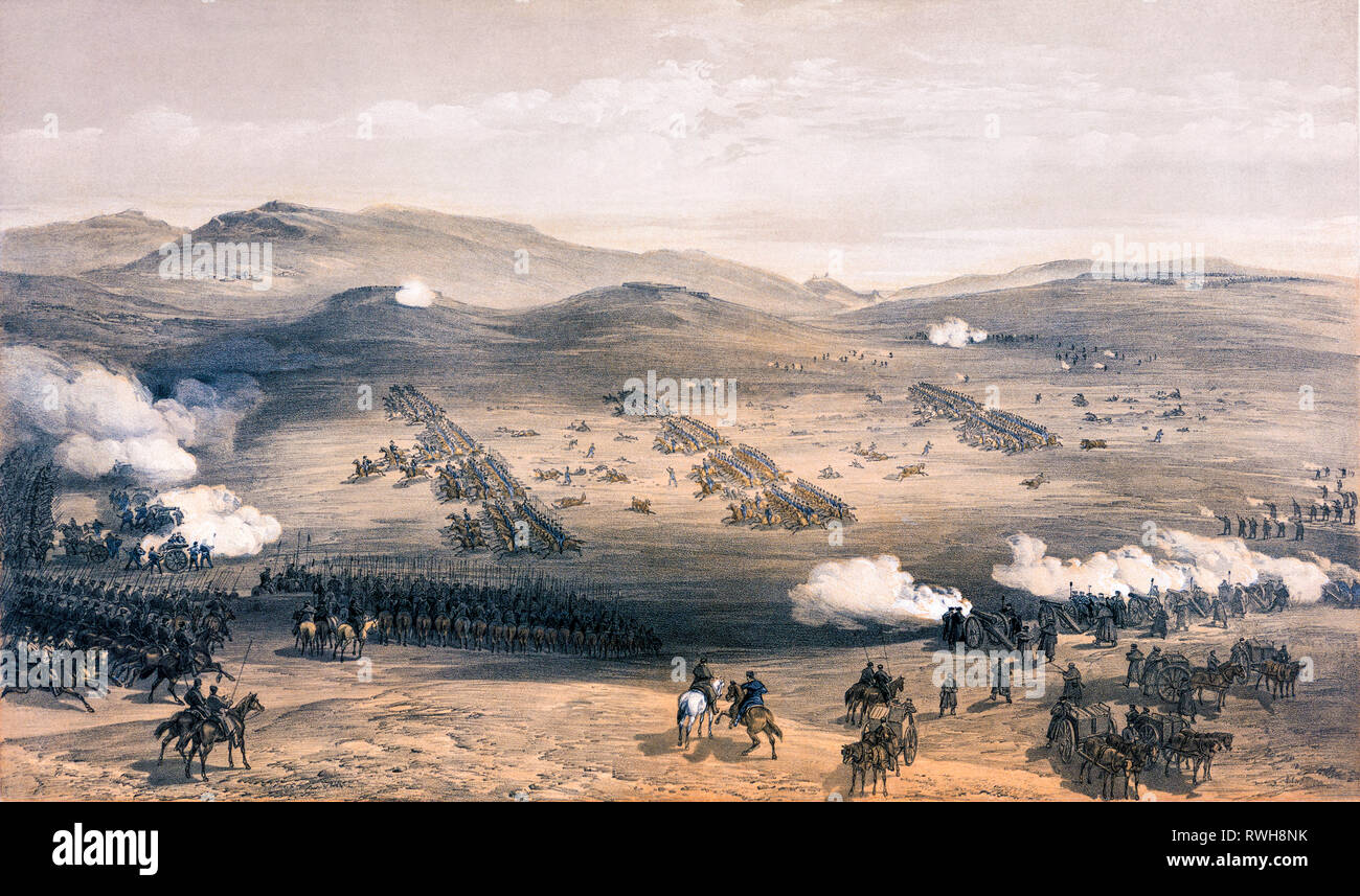 Charge of the Light Cavalry Brigade, print, 25th October 1854, by William Simpson, 1855 - Battle of Balaclava - Stock Image