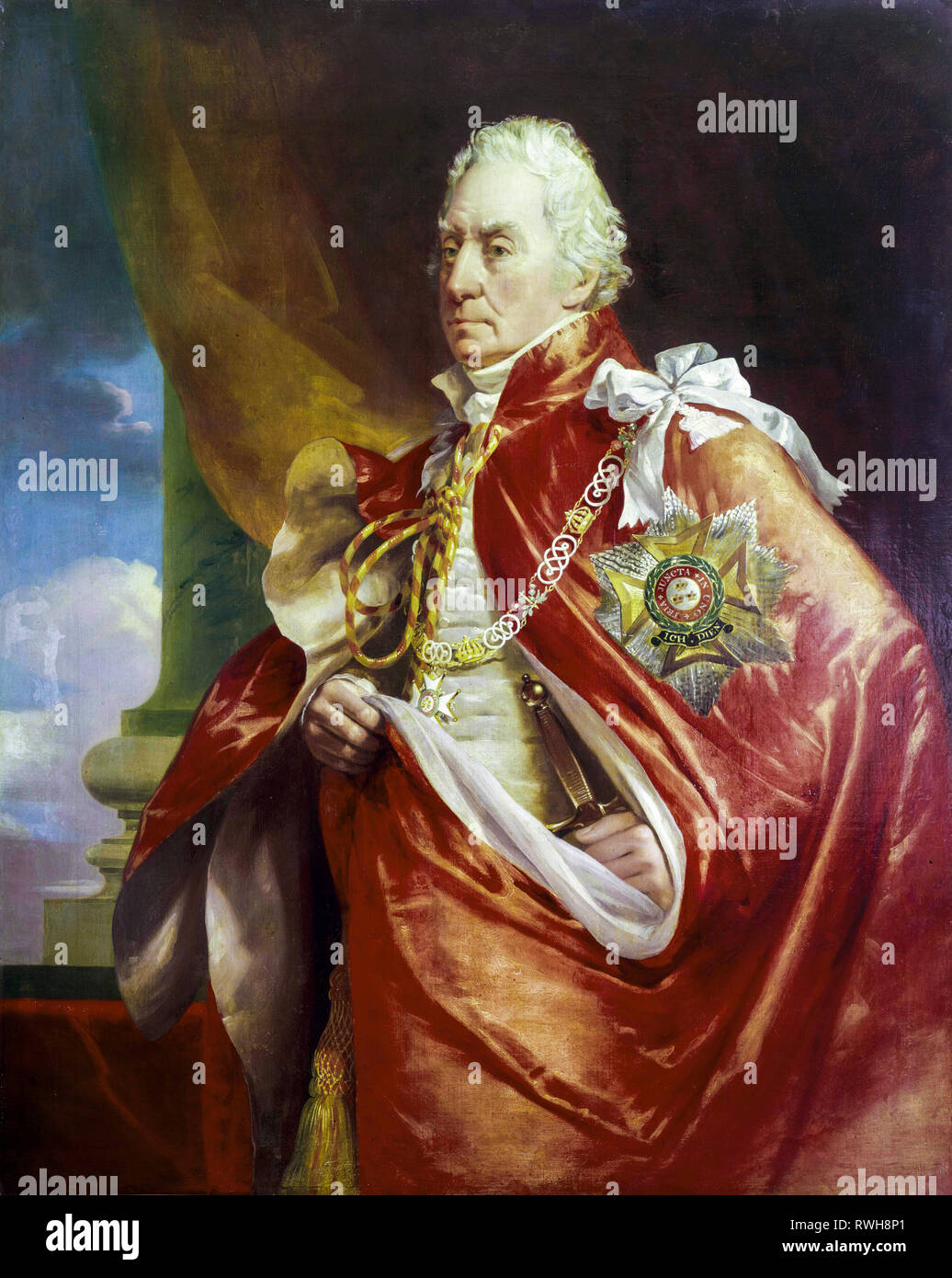 Admiral of the Red George Keith Elphinstone (1746-1823), 1st Viscount Keith, portrait painting, after 1815 by George Sanders - Stock Image
