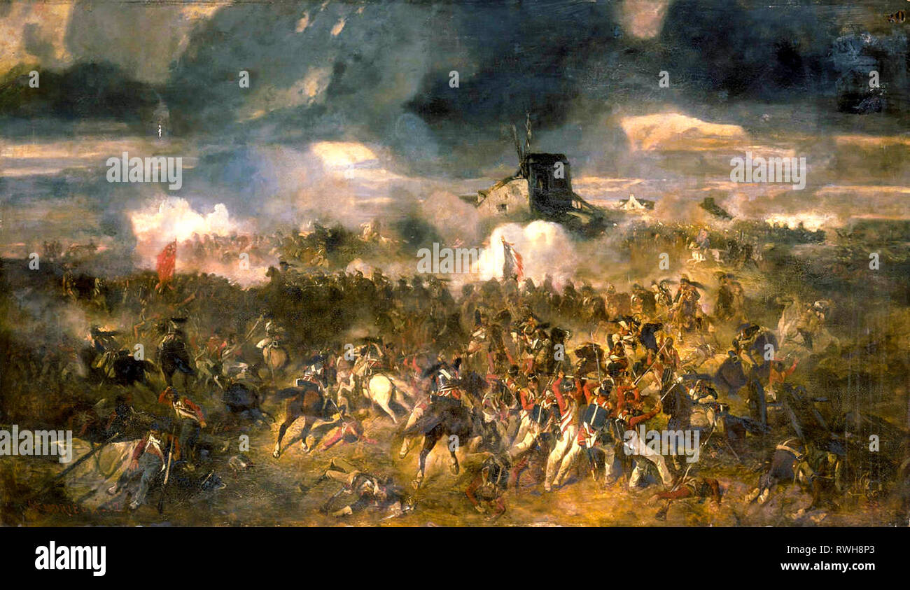 Battle of Waterloo, 18th June 1815, painting, 1852 by Clement-Auguste Andrieux - Stock Image