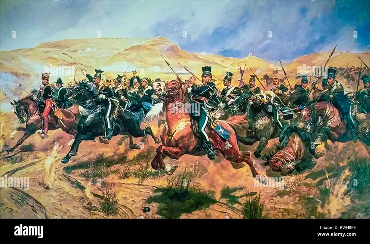 The Charge of the Light Brigade by Richard Caton Woodville Junior,  Battle of Balaclava painting - Stock Image