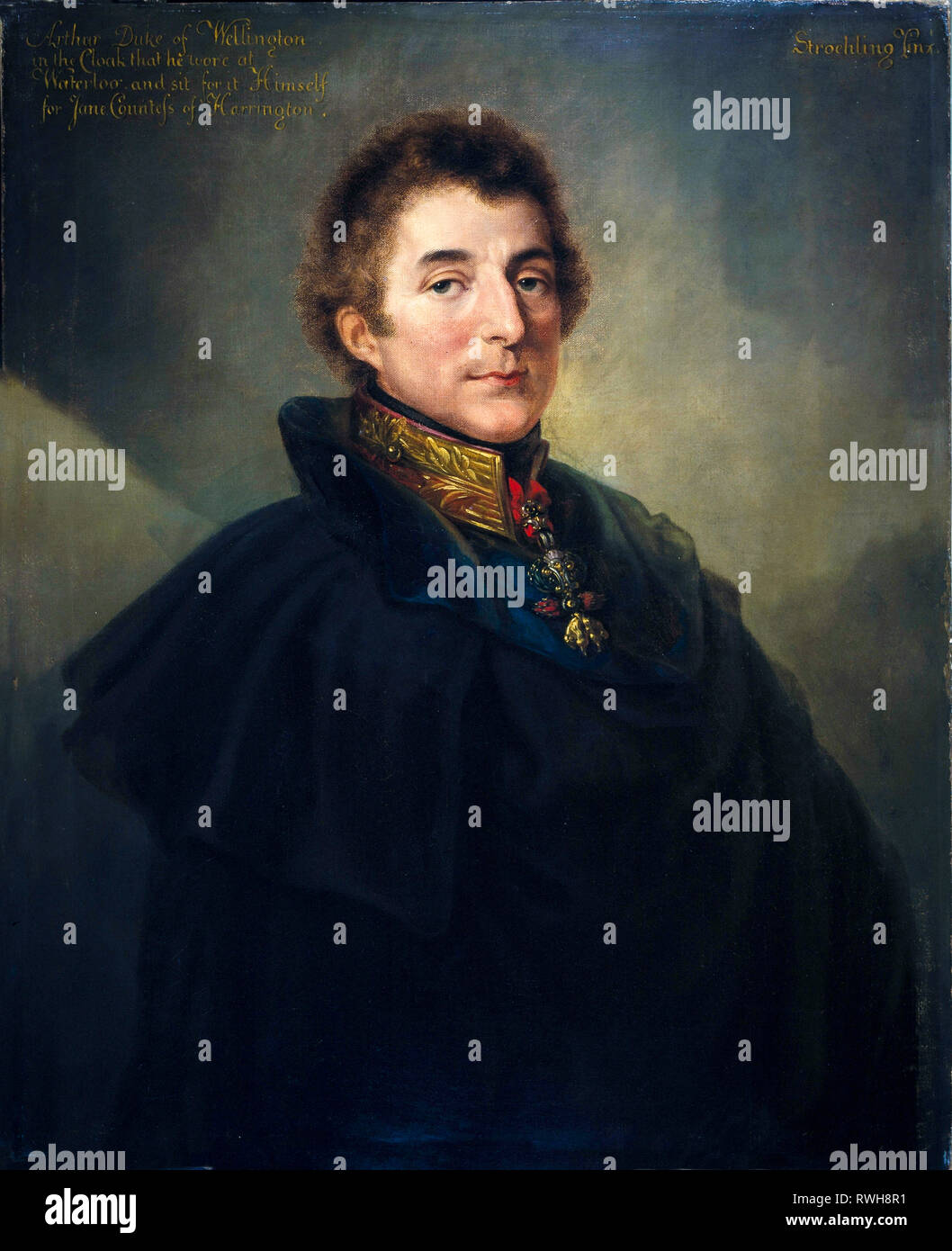 Field Marshal Arthur Wellesley, KG GCB (1769-1852), 1st Duke of Wellington, portrait painting, 1820 by Peter Edward Stroehling - Stock Image
