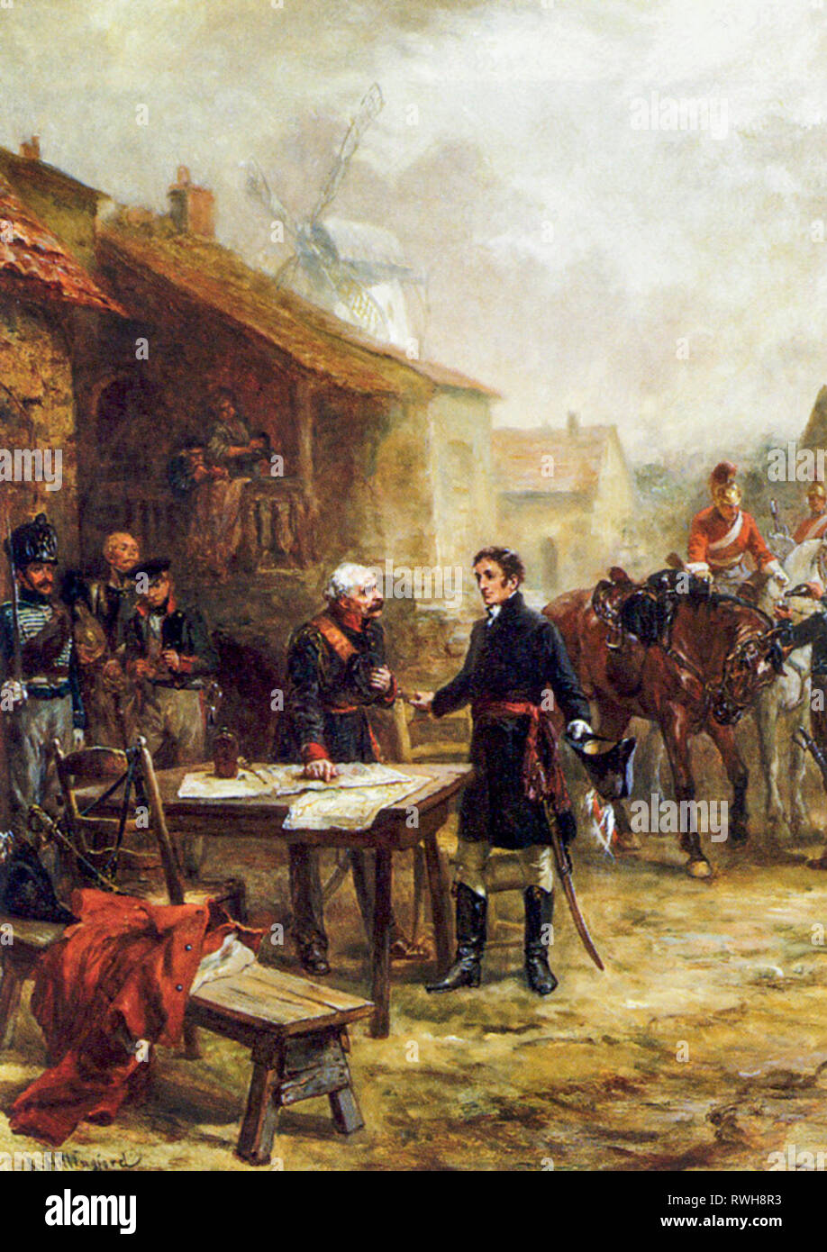 Wellington and Blucher Meeting before the Battle of Waterloo, painting by Robert Alexander Hillingford, after 1815 - Stock Image