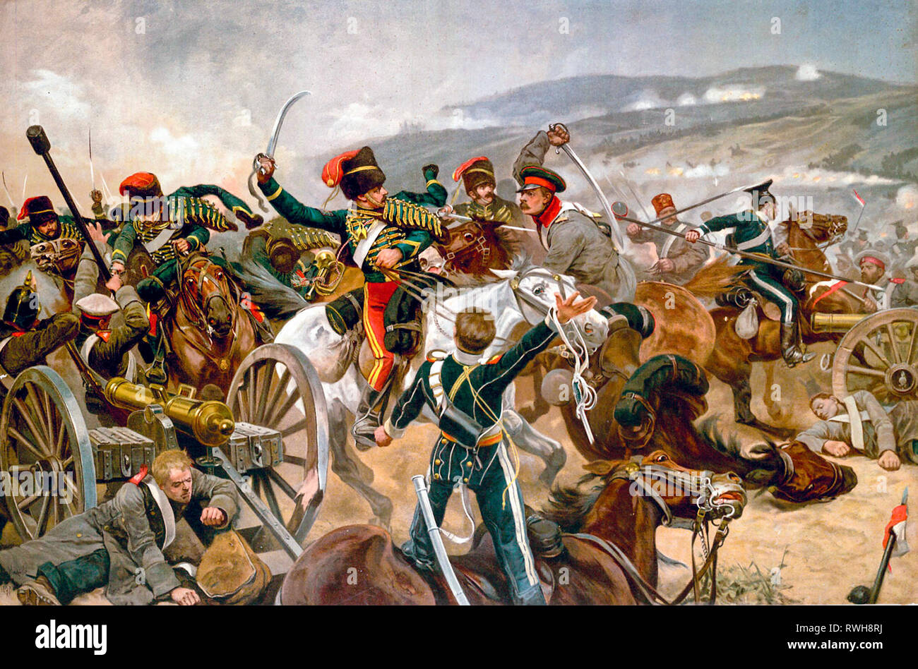 The Relief of the Light Brigade, Richard Caton Woodville, Junior, Battle of Balaclava painting, 1897 - Stock Image