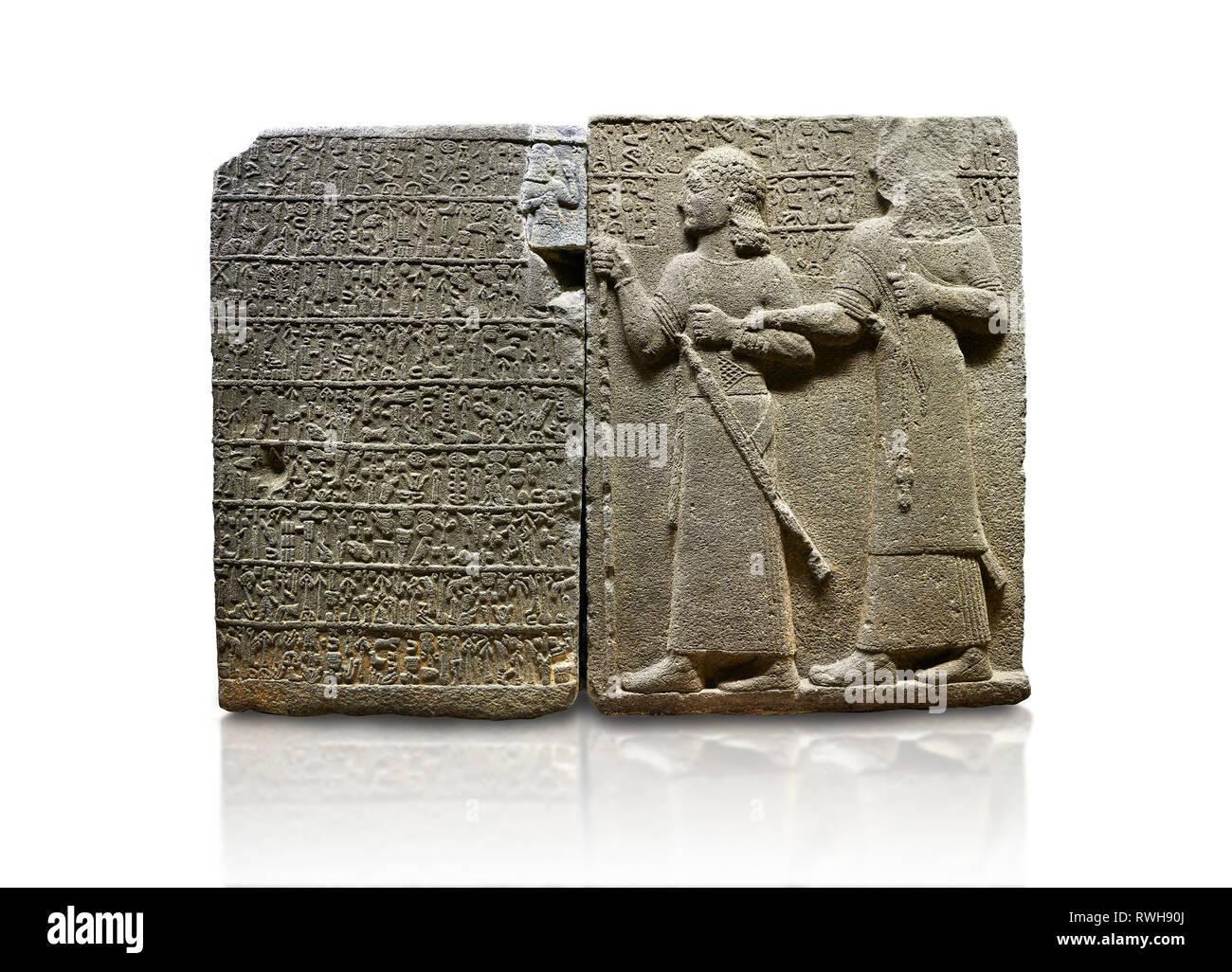 Hittite monumental relief sculpted orthostat stone panel of Royal Buttress. Basalt, Karkamıs, (Kargamıs), Carchemish (Karkemish), 900-700 B.C. Anatoli Stock Photo