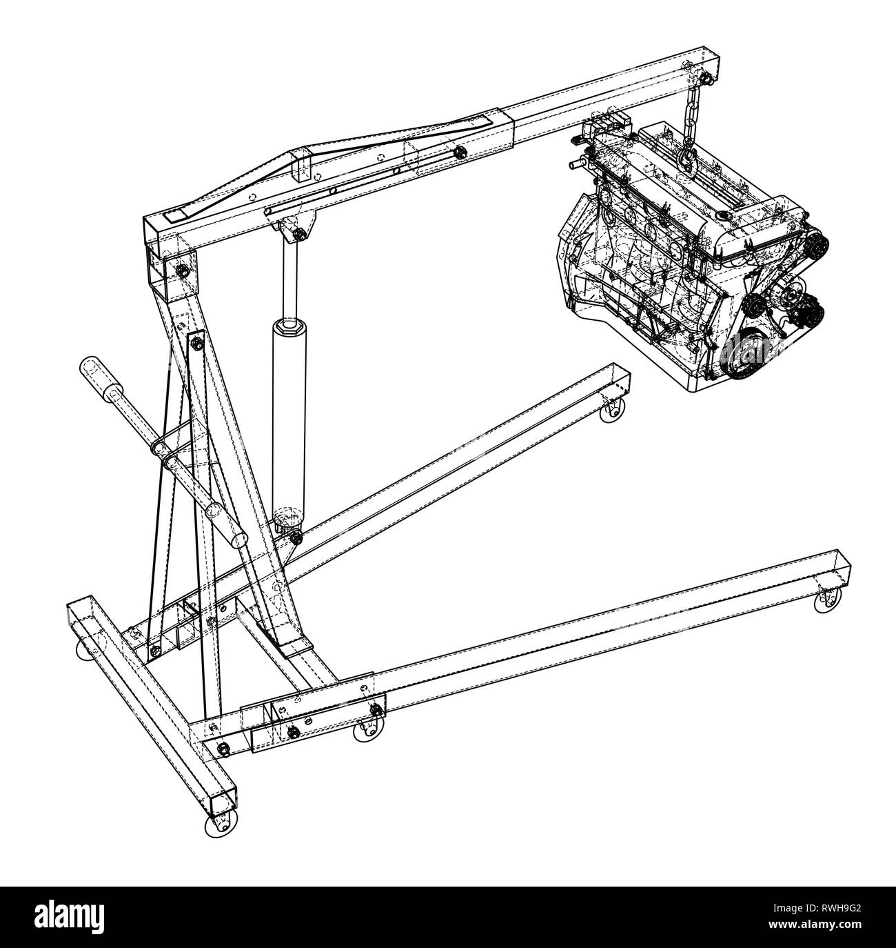 Engine hoist with engine outline Stock Vector Image & Art - AlamyAlamy