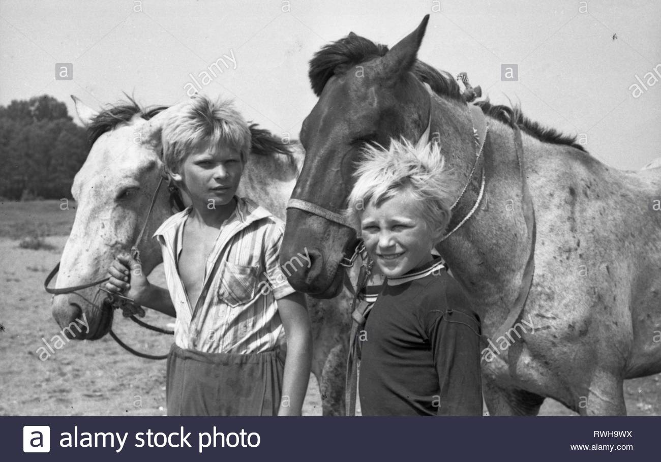 It is hot summer day. Two boys are grazing farm horses on the bank of the river. Two shepherds are standing under gusts of the summer wind, and holding the reins of two horses. - Stock Image