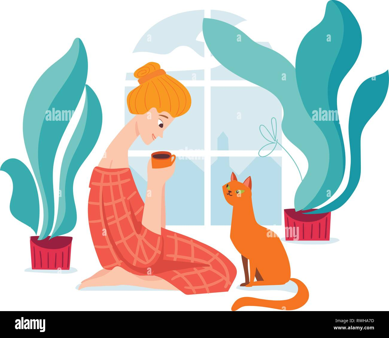 Vector hygge illustration with a woman drink coffe with her cat.  - Stock Image