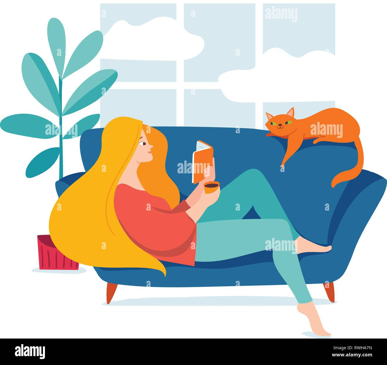 Hygge illustration with a womal reading a book - Stock Image