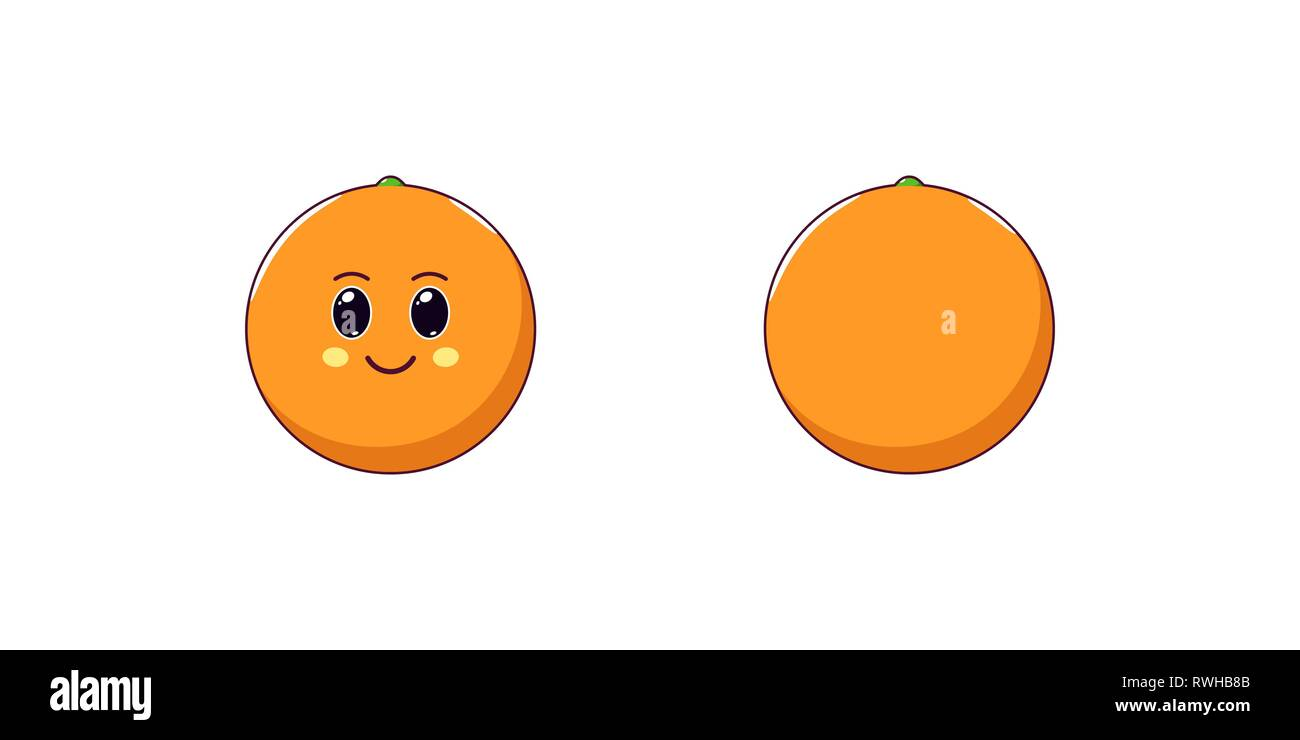 Cute Kawaii Orange, Cartoon Citrus Fruit  Vector