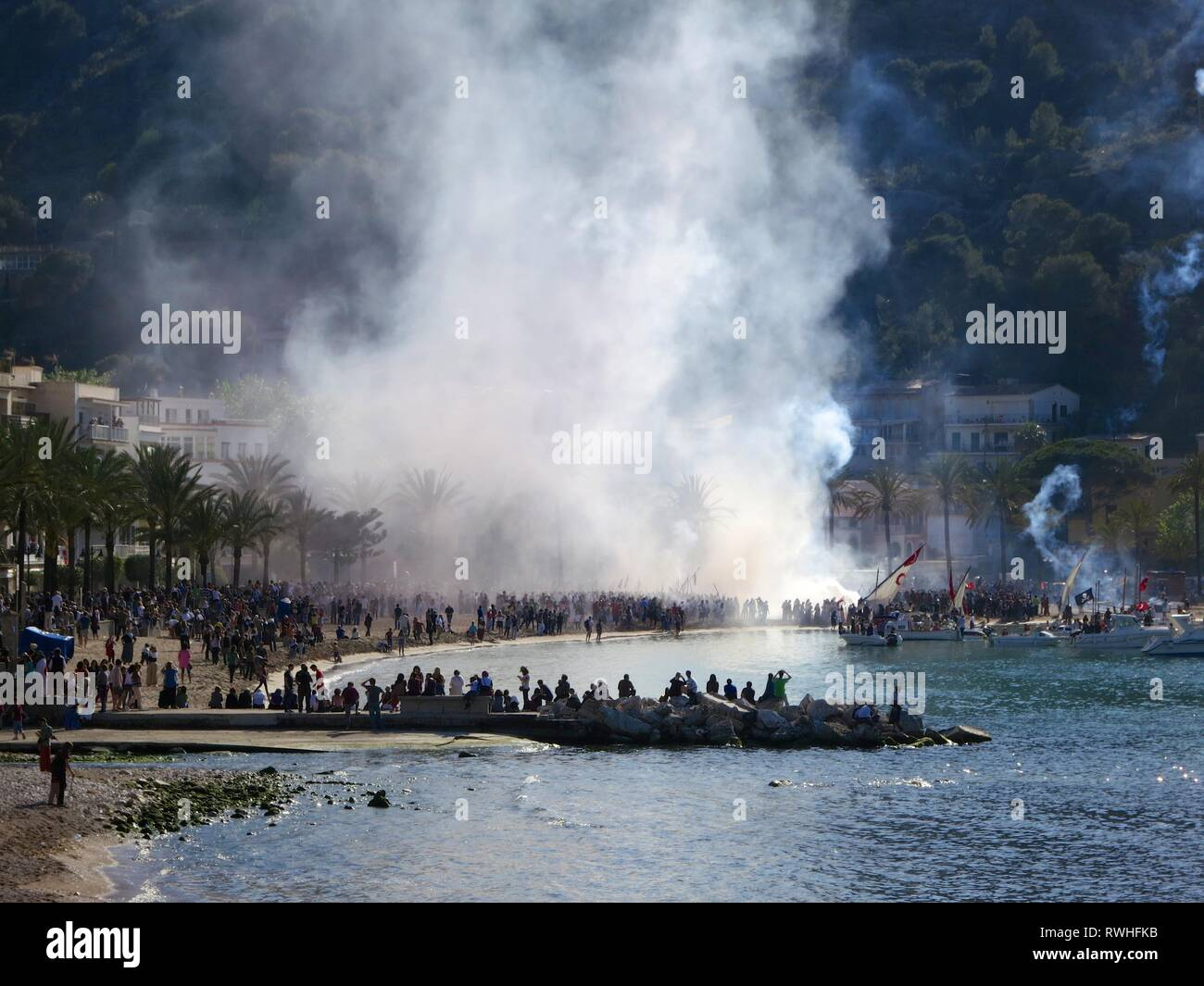 Panorama of the Festival of Moors and Christians, Soller, Mallorca - Stock Image