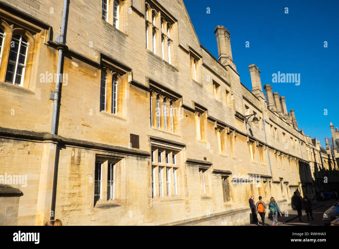 Jesus College Oxford,stone,building,on,Market Street,Oxford,university town,Oxford University,town,city,Oxfordshire,Cotswolds,England - Stock Image