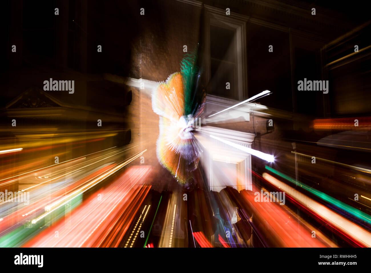 Zoom burst shot at Piccadilly Circus, London - Stock Image