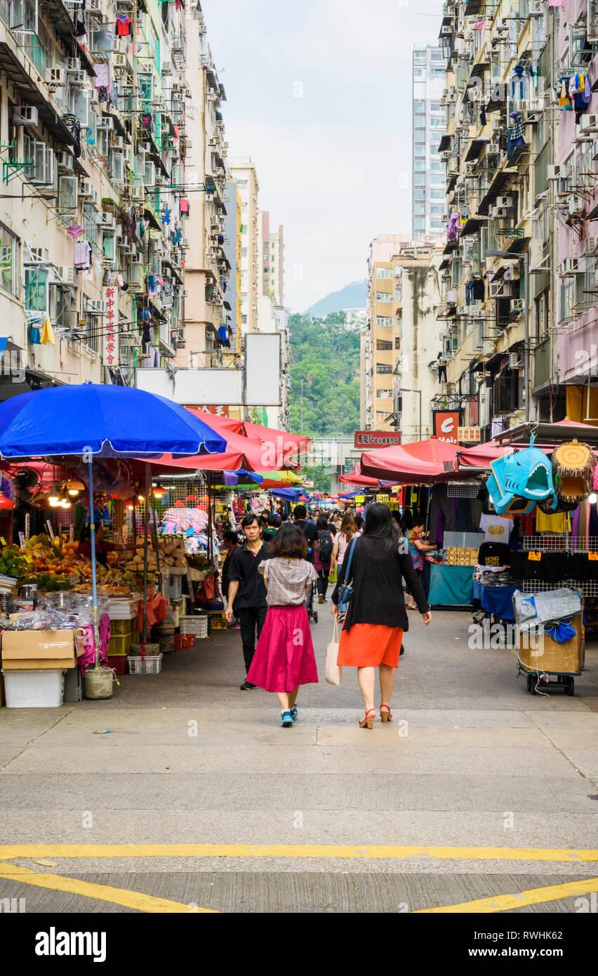 Fa Yuen Street Market in Mong Kok, Hong Kong. - Stock Image