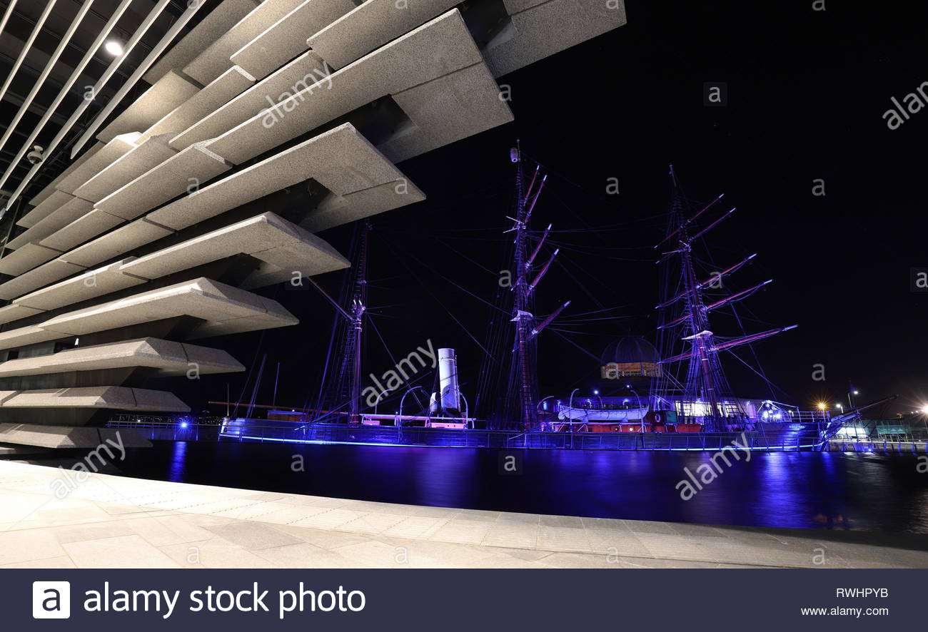 V&A Design Museum and RRS Discovery by night Dundee Scotland  February 2019 Stock Photo