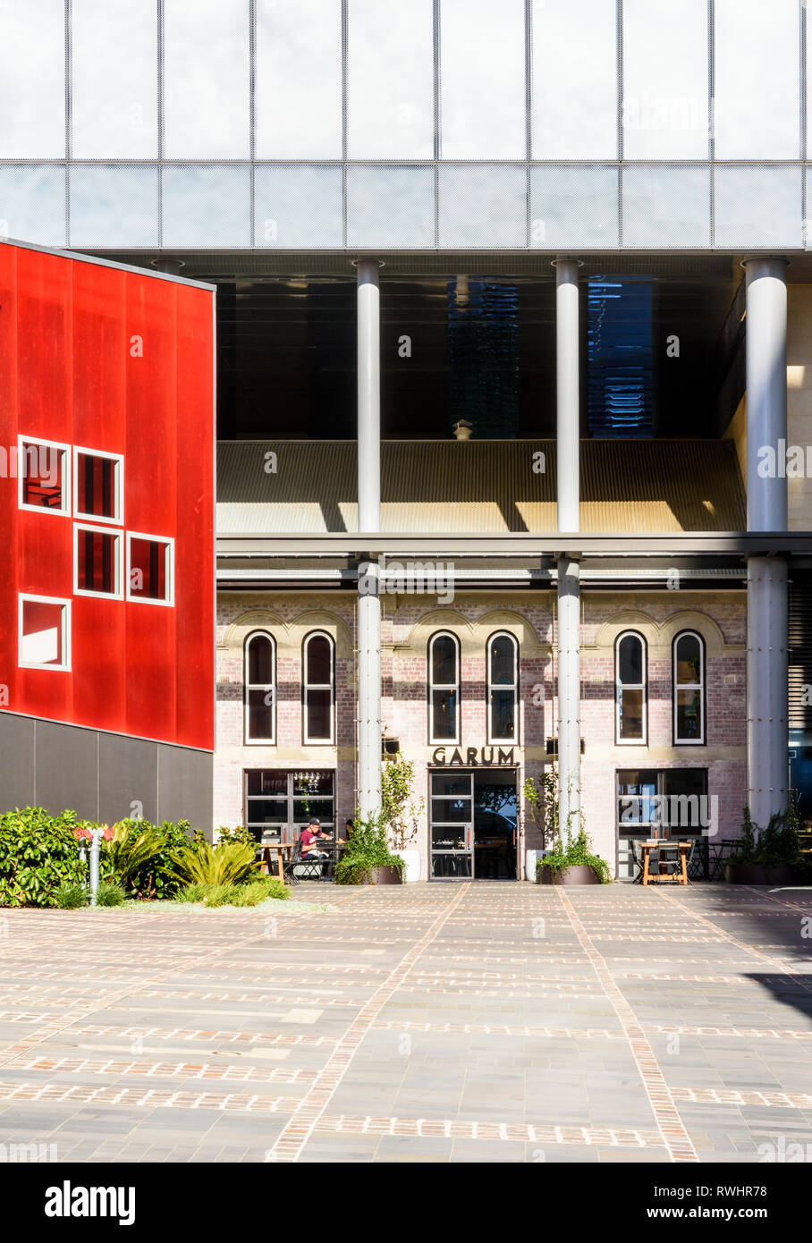 Old and new buildings in the newly renovated development of Hibernian Place, Perth, Western Australia - Stock Image