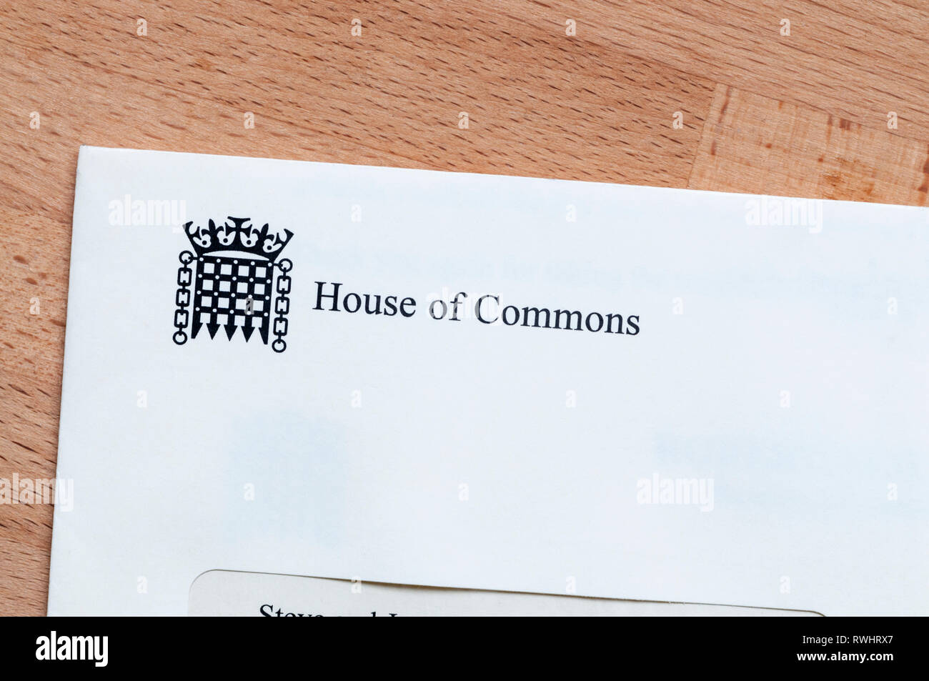 A letter from the House of Commons. - Stock Image