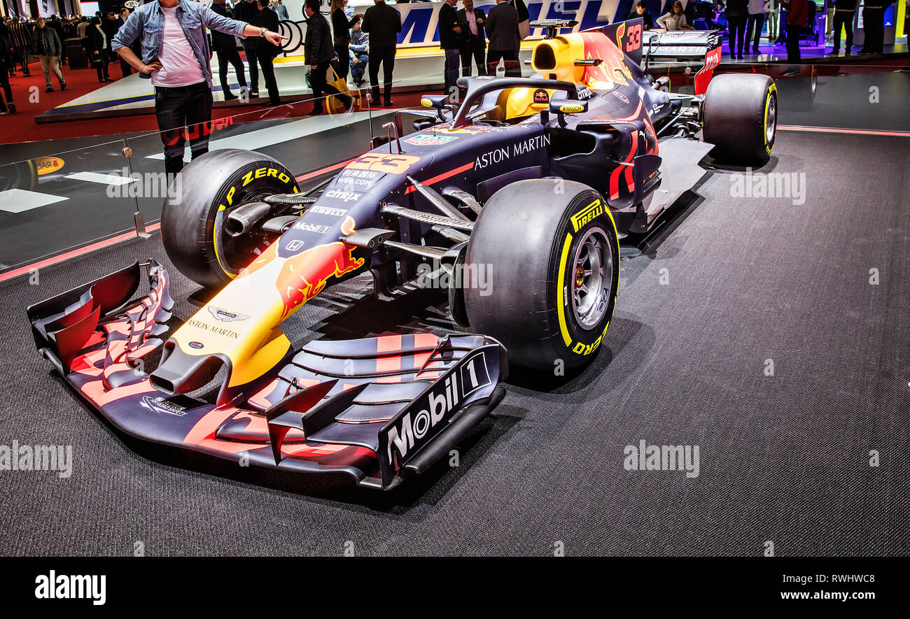 Formule 1 Aston Martin was presented during the 2019 Geneva International Motor Show on Tuesday, March 5th, 2019. (CTK Photo/Josef Horazny) - Stock Image