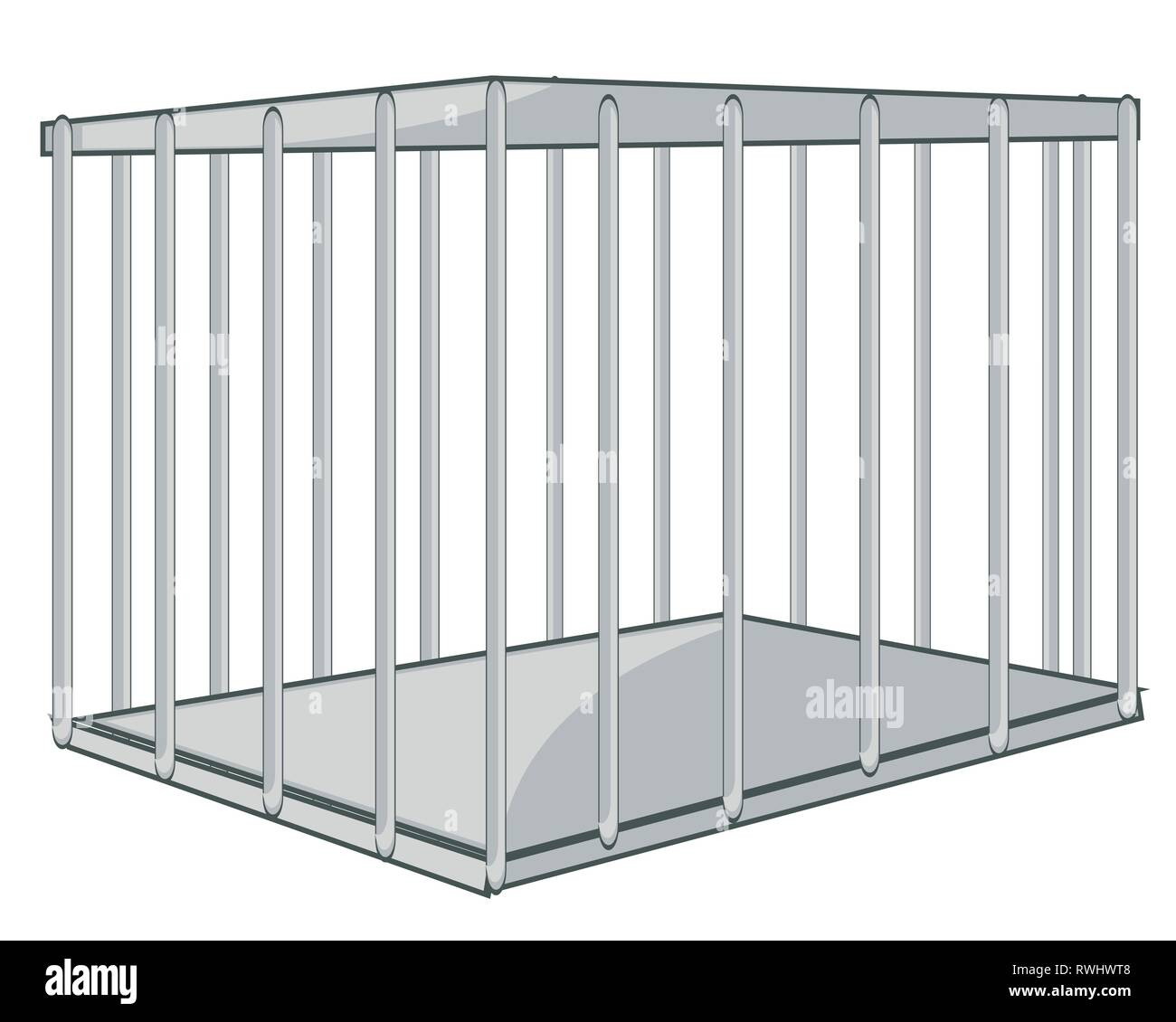 Vector illustration strong and square iron hutch from twig - Stock Vector