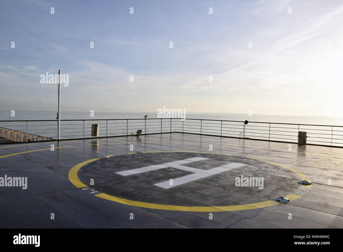 Helipad on Britanny Ferries boat, Feb 2019 - Stock Image